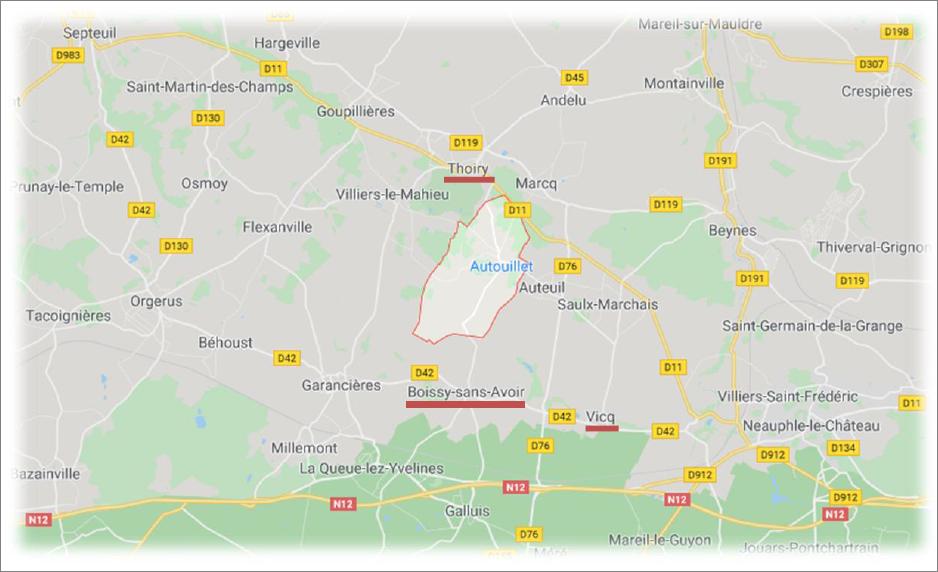 Carte Autouillet-Thoiry-Boissy-Vicq